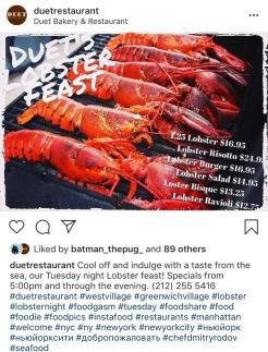 Lobster Night at Duet Restaurant